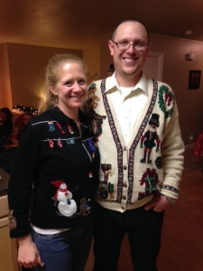 Jordan and me looking good in our ugly sweaters.