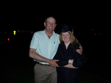 This is an awkward picture from my undergrad graduation. My brother, Jordan, and I all graduated the same day... at different times. It had been a long and exhausting day. But Dad still made sure I knew how proud he was.