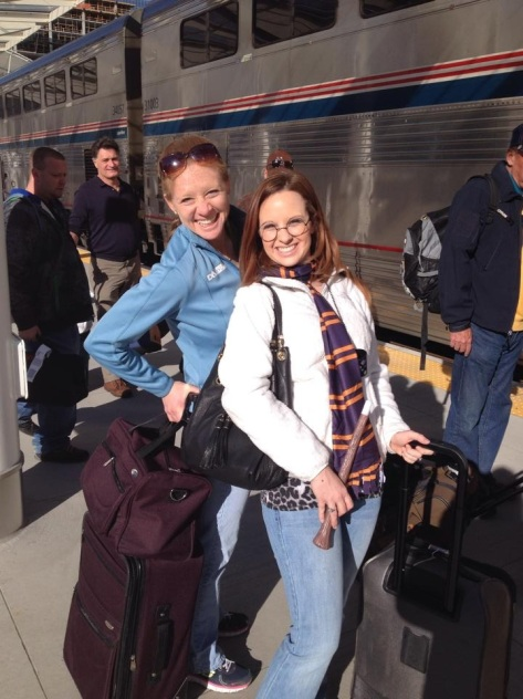 Getting on the train with my BFF Sam, who was pretending we were going to Hogwarts.
