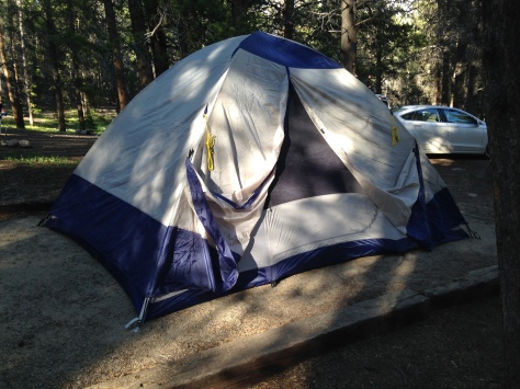 Our giant tent. My six-foot-tall husband can stand upright in it.