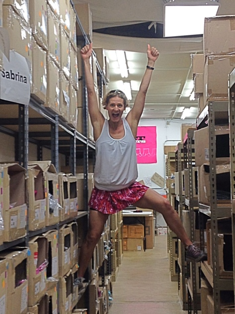Skirt Sports founder Nicole DeBoom in the warehouse